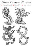 Tattoo Set With Hand Drawn Fantasy Dragons Stock Images