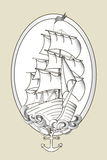 Tattoo ship black and white stencil vector Stock Images