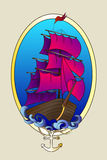 Tattoo ship color vector illustration Royalty Free Stock Photography
