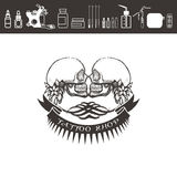 Tattoo shop logo, emblem. Black and white. Tattoo shop logo, emblem. Two skulls with ribbons and tattoo kit Stock Photos
