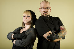 Tattoo shop team looking tough Royalty Free Stock Photos