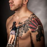 Tattoo, Shoulder, Joint, Chest Royalty Free Stock Images