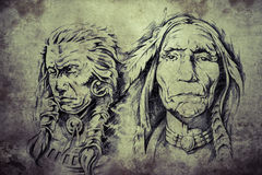 Tattoo sketch of American Indian elders Stock Photo