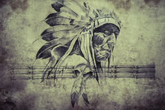 Tattoo sketch of American Indian tribal chief warriors Royalty Free Stock Photo