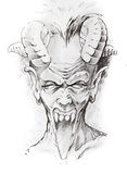 Tattoo sketch of devil head Stock Photo