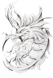 Tattoo sketch of medieval dragon Stock Image