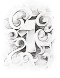 Tattoo sketch of one number Stock Photography