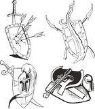 Tattoo sketches of knight shields with blades Stock Images