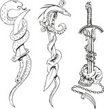 Tattoo sketches with snakes, daggers and skull. Set of black and white tattoo sketches with snakes entwining daggers and skull Royalty Free Stock Images
