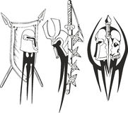 Tattoo sketches of Teutonic crusader shields and helmets Royalty Free Stock Image