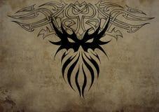 Tattoo skull mask over vintage paper, black tribal tattoos royalty free illustration