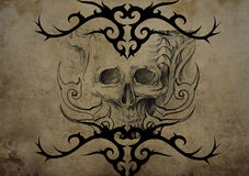 Tattoo skull over vintage paper, black tribal tattoos Royalty Free Stock Images