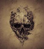 Tattoo skull over vintage paper, design handmade Royalty Free Stock Photography