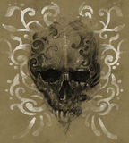 Tattoo skull over vintage paper, white tribals design Royalty Free Stock Image