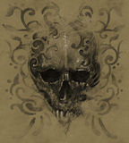 Tattoo skull over vintage paper, white tribals design Stock Photo