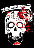 Tattoo skull and rose (white) Stock Photography