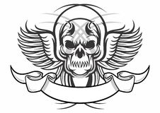 Tattoo skull. Vector illustration of black white skull with wings and ribbon Stock Image