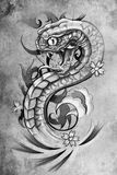 Tattoo snake  illustration, handmade Royalty Free Stock Photography