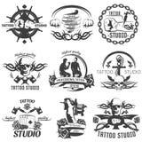 Tattoo Studio Black White Emblems Stock Photo