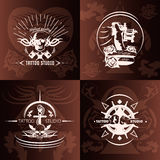 Tattoo Studio Compositions. With white emblems with transparent elements on brown background with pattern isolated vector illustration Royalty Free Stock Photo
