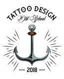 Tattoo studio design. Old school tattoo marine anchor drawing design vector illustration graphic Royalty Free Illustration