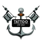 Tattoo studio design. Old school tattoo marine anchor drawing design vector illustration graphic Stock Illustration