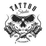 Tattoo studio emblem with machines and skull. Tattoo studio emblem with tattoo machines and skull. Monochrome line work. Isolated on white background. layered Royalty Free Stock Images