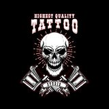 Tattoo studio emblem template. Crossed tattoo machine, skull. Design element for logo, label, sign, poster, t shirt. Vector illustration royalty free illustration
