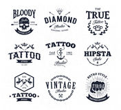 Tattoo Studio Emblems. Vector set of cool tattoo studio logo templates on white background. Retro styled trendy  emblems Royalty Free Stock Images