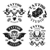 Tattoo studio four vector black vintage emblems stock illustration