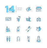 Tattoo Studio - line icons set. Tattoo Studio - modern vector line design icons set with accent color. Bird, storefront, sample book, tattoo machine, coils, ink Royalty Free Stock Photography