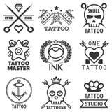 Tattoo studio salon vector icon templates skull, heart, anchor Stock Photo
