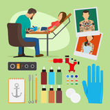 Tattoo studio vector illustration Royalty Free Stock Image