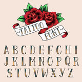 Tattoo style alfabeth. Set of tattoo style letters, alfabeth for your design stock illustration