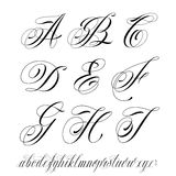 Tattoo style alphabet. Handmade vector calligraphy tattoo alphabet stock illustration