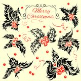 Tattoo Style Christmas Holy Leave Stock Photos