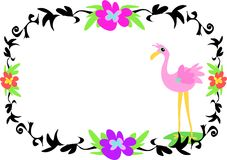 Tattoo Style Frame with Flamingo Stock Photo
