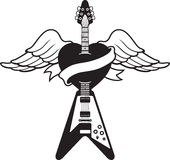 Tattoo style guitar illustration. Black and white drawing of a winged heart pierced by a Flying V style guitar. There is also a banner for placing text Royalty Free Stock Image