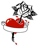 Tattoo style heart, rose and banner Stock Photos