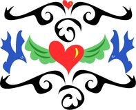 Tattoo Style with Hearts and Birds Stock Image