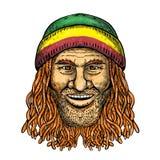 Rastafarian Dude Tattoo Color. Tattoo style illustration of a Rastafarian dude, Rastafari or guy practising Rastafarianism, an Abrahamic religion developed in stock illustration