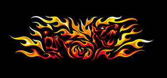 Tattoo style illustration of two angry dogs in flames Stock Photo