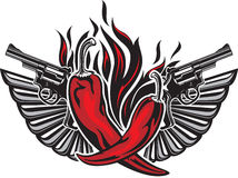 Tattoo style illustration with two red peppers. Tattoo style illustration with two red hot peppers, two guns, two wings and fire flame Royalty Free Stock Photo
