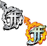 Tattoo style letter F. Hand drawn tattoo style letter F with relevant symbols incorporated including a flaming female symbol. All parts are fully editable. Part stock illustration