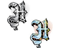 Tattoo style letter H. Hand drawn tattoo style letter H with relevant symbols incorporated including handcuff and subtle heart shape background. All parts are royalty free illustration