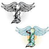 Tattoo style letter I. Hand drawn tattoo style letter I with relevant symbols incorporated including the wings of icarus and ivy. All parts are fully editable royalty free illustration