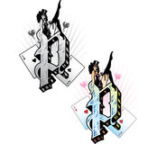 Tattoo style letter P. Hand drawn tattoo style letter P with relevant symbols incorporated including a pin-up girl and playing cards. All parts are fully royalty free illustration