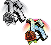 Tattoo style letter R. Hand drawn tattoo style letter R with relevant symbols incorporated including a red rose and rainbow. All parts are fully editable. Part vector illustration