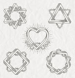 Tattoo style line art symbols Royalty Free Stock Photo