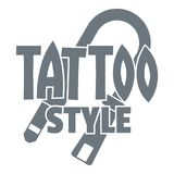 Tattoo style logo, simple gray style Stock Image